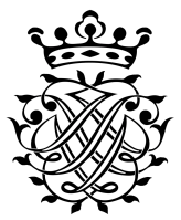 You see the crest, which Johann Sebastian Bach painte himself in black and white. In the lower part there are  leave branch cirruses and these cirusses form the letters JSB. Once so you can read it, next in mirror writing. On top is a crown with 5 pegs.