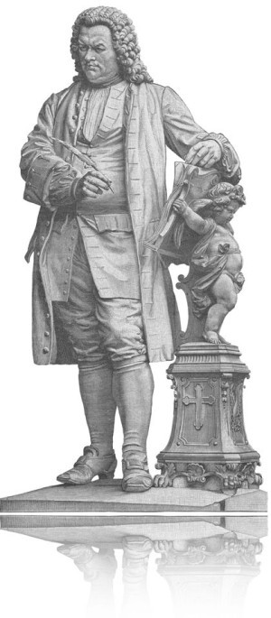On white background there is an engraving in black and white. It shows the Bach memorial in Eisenach, Germany: Bach in his coat and with a peruke is holding a writing feather and he puts his second arm on a book, which is held by a little angel on a found