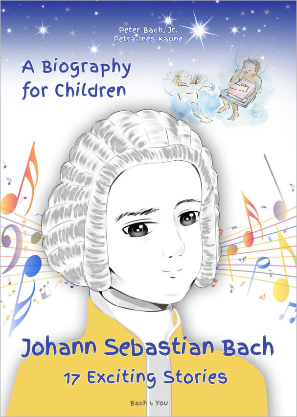 You see the German biography about Johann Sebastian Bach for children. In the middle there is a gypsum bust of Bach. In the upper right corner you see two cherubs. There are music notes, very colourful and on top of all are stars.
