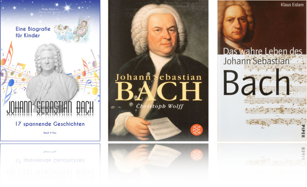 You see three hard cover books: First on the left is the biography about Bach for children. In the middle is the biography of Bach scientist Christoph Wolff with the historic Bach painting. On the right there is the Bach biography of Klaus Eidam.