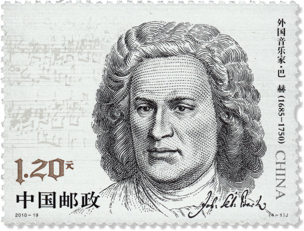 On a stamp from China in black and white you see the portrait of Bach which was a wood engraving. In the background is a note sheet, and in the lower section is Bach's signature. You see numbers of 1.20 and some Chinese signs.