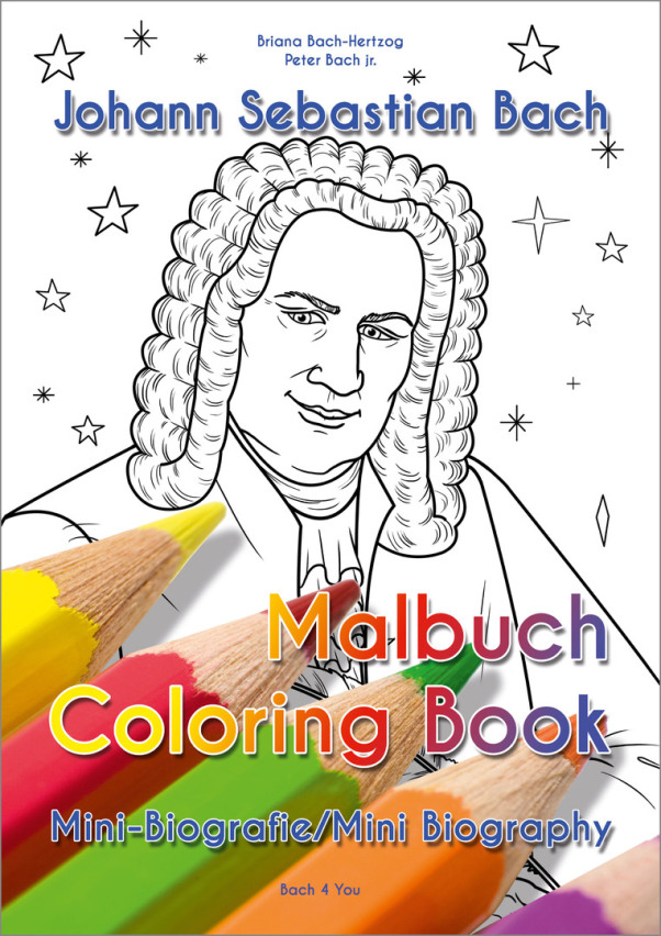 "A Bach biography for children. It is very colorfull. In the middle is a Bach bust, there are notes all around and two little cherubs are in the upper right corner. The smaller title says ""17 cool stories"" in German."