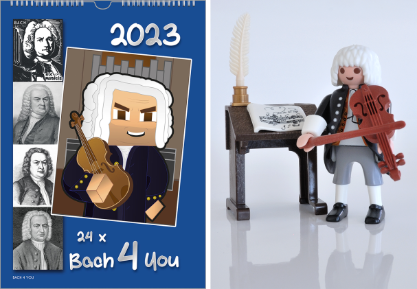 """A Bach wall calendar. On the left you discover 5 historic black and white small drawings and engravings. On the left side there is a large portrait of Bach, which is very up-to-date. The title is """"24 x Bach 4 You"""" and you see the year."""